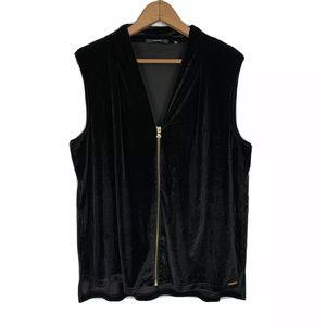 TAHARI Black Velvet Sleeveless Blouse Full Zip M